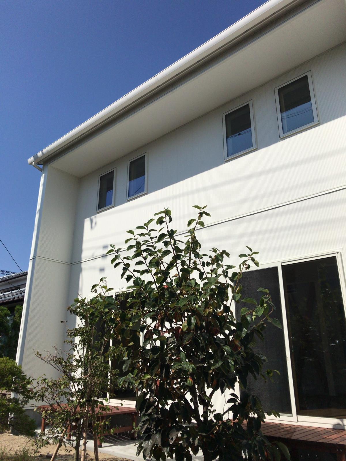 真っ白な外観が目を引きます。メンテナンスを考慮した金属製の外壁材です。